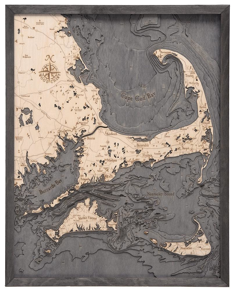 """Cape Cod & The Islands Wood Carving - Grey Frame 24.5""""W x 31""""L"""