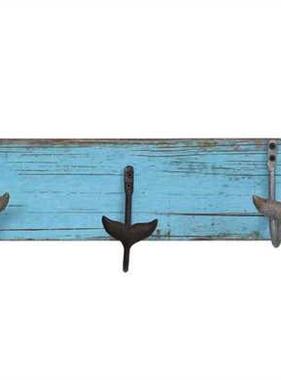 "Wall Hanger w/ 5 Metal Whale Tail Hooks 23.5""L x 5""H MDF"