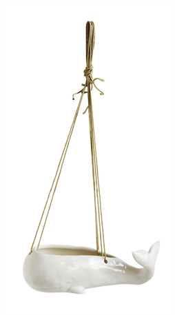 "Whale Planter - Hanging 9.5""L Stoneware White"