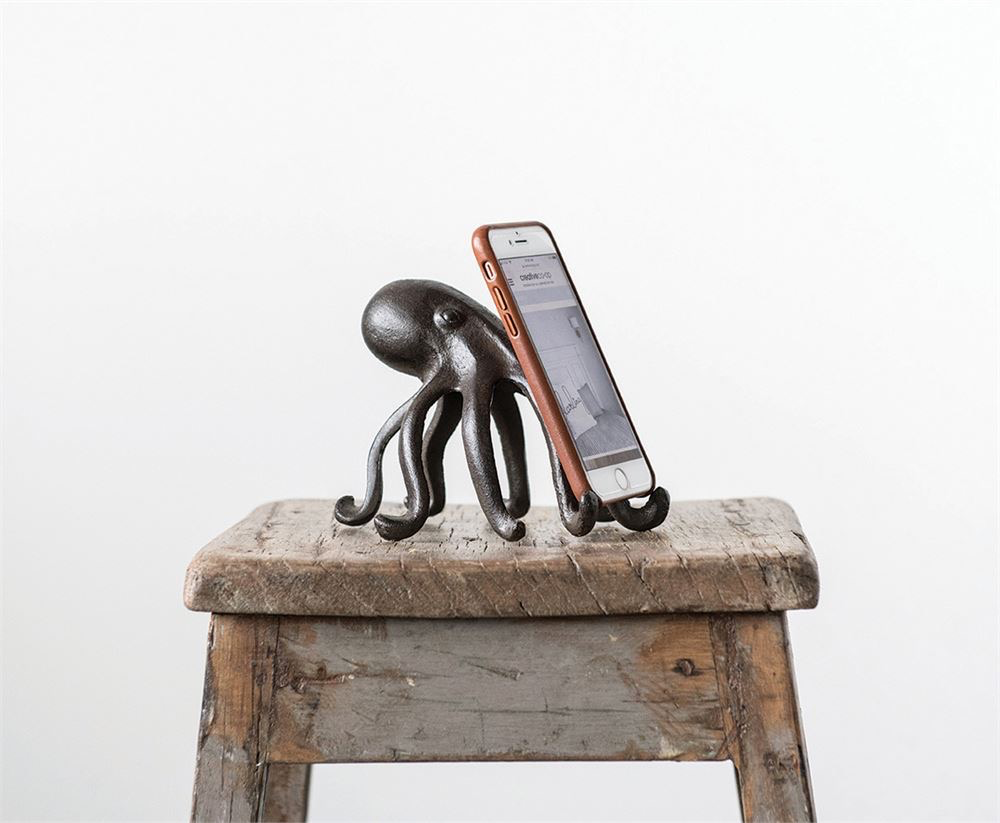 """Cast Iron Octopus Phone/Tablet Stand 6""""L x 5.25""""W x 4.75""""H"""
