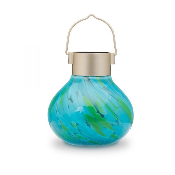 Glass Solar Tea Lantern - Mint 5.5""