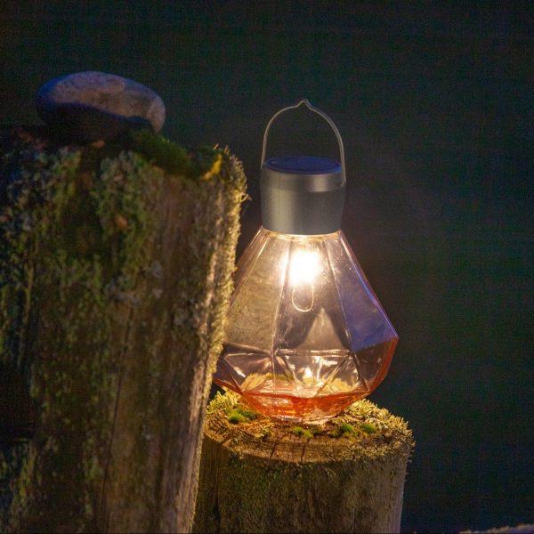 "Gem Light Glass Solar Lantern - Rose 5.5"" x 7"""
