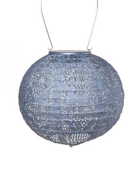 "Wave Globe Solar Lantern - Metallic Blue 8"""
