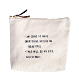 """I Am Going To Make Canvas Bag - Beige Canvas with Leather Zipper Tassle 9"""" x 7"""""""