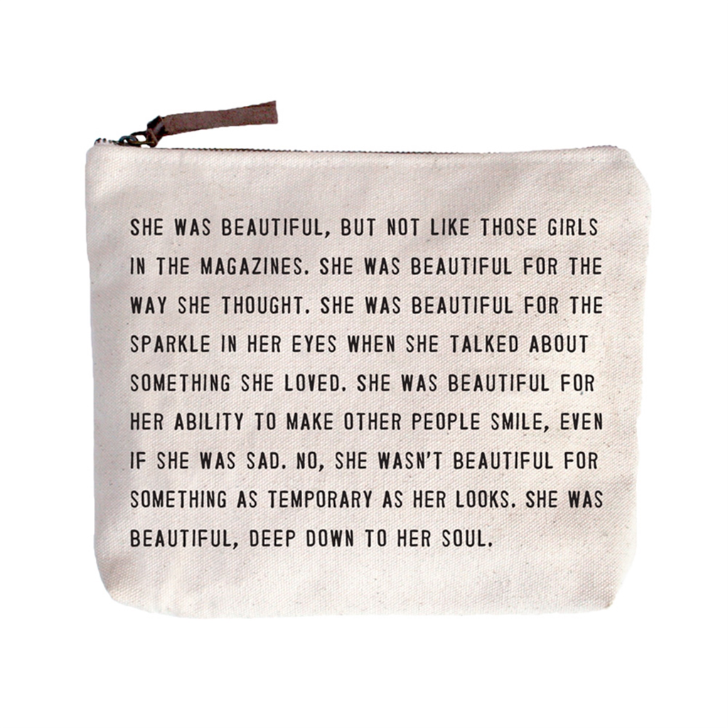 """She Was Beautiful Canvas Bag - Beige Canvas with Leather Zipper Tassle 9"""" x 7"""""""
