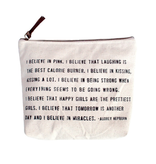 """I Believe In Pink Canvas Bag - Beige Canvas with Leather Zipper Tassle 9"""" x 7"""""""