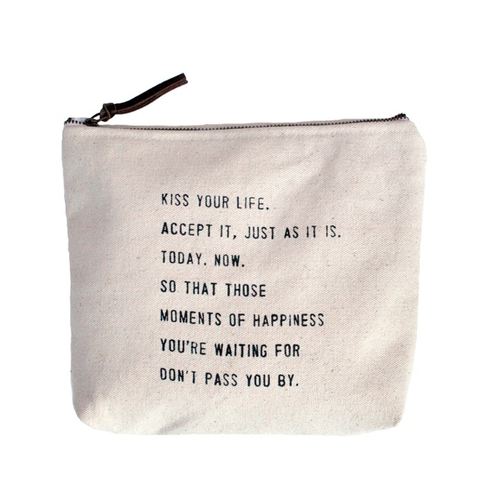 "Kiss Your Life Canvas Bag - Beige Canvas with Leather Zipper Tassle 9"" x 7"""