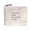 "You Are My Sun Canvas Bag - Beige Canvas with Leather Zipper Tassle 9"" x 7"""