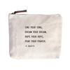 """Sing Your Song Canvas Bag - Beige Canvas with Leather Zipper Tassle 9"""" x 7"""""""