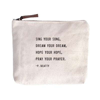 """(D) Sing Your Song Canvas Bag - Beige Canvas with Leather Zipper Tassle 9"""" x 7"""""""