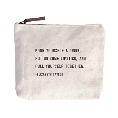 "Pour Yourself a Drink Canvas Bag - Beige Canvas with Leather Zipper Tassle 9"" x 7"""