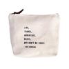 "Live Travel Canvas Bag - Beige Canvas with Leather Zipper Tassle 9"" x 7"""