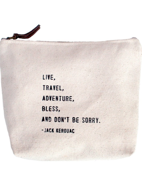 "(D) Live Travel Canvas Bag - Beige Canvas with Leather Zipper Tassle 9"" x 7"""