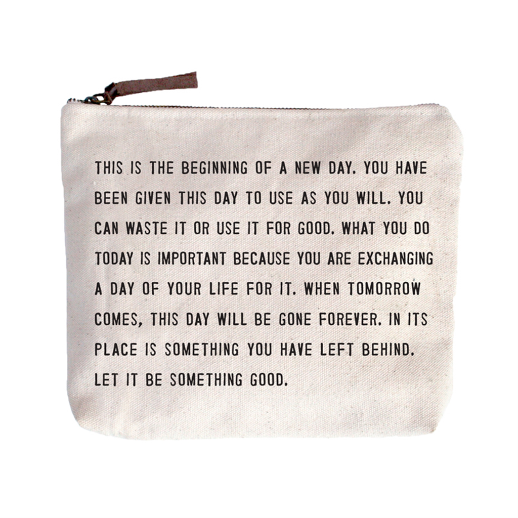 "This Is The Beginning Canvas Bag - Beige Canvas with Leather Zipper Tassle 9"" x 7"""