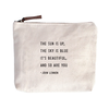 """The Sun Is Up Canvas Bag - Beige Canvas with Leather Zipper Tassle 9"""" x 7"""""""