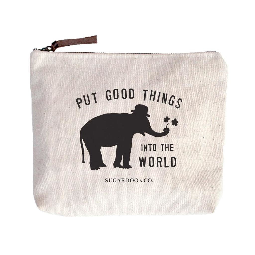 "Put Good Things Canvas Bag - Beige Canvas with Leather Zipper Tassle 9"" x 7"""