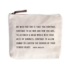 """My Wish For You Canvas Bag - Beige Canvas with Leather Zipper Tassle 9"""" x 7"""""""