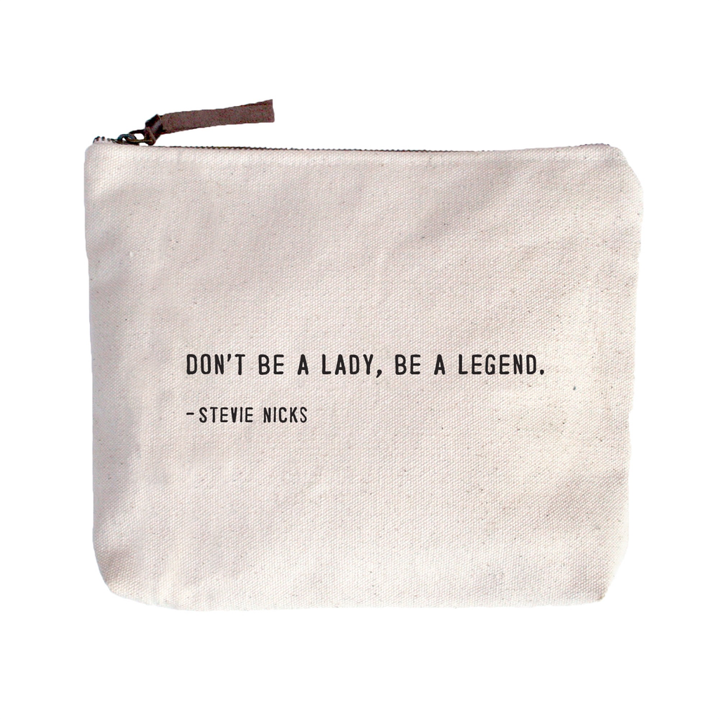 """Don't Be A Lady Canvas Bag - Beige Canvas with Leather Zipper Tassle 9"""" x 7"""""""