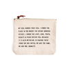 """My Soul Honors Canvas Bag - Beige Canvas with Leather Zipper Tassle 9"""" x 7"""""""