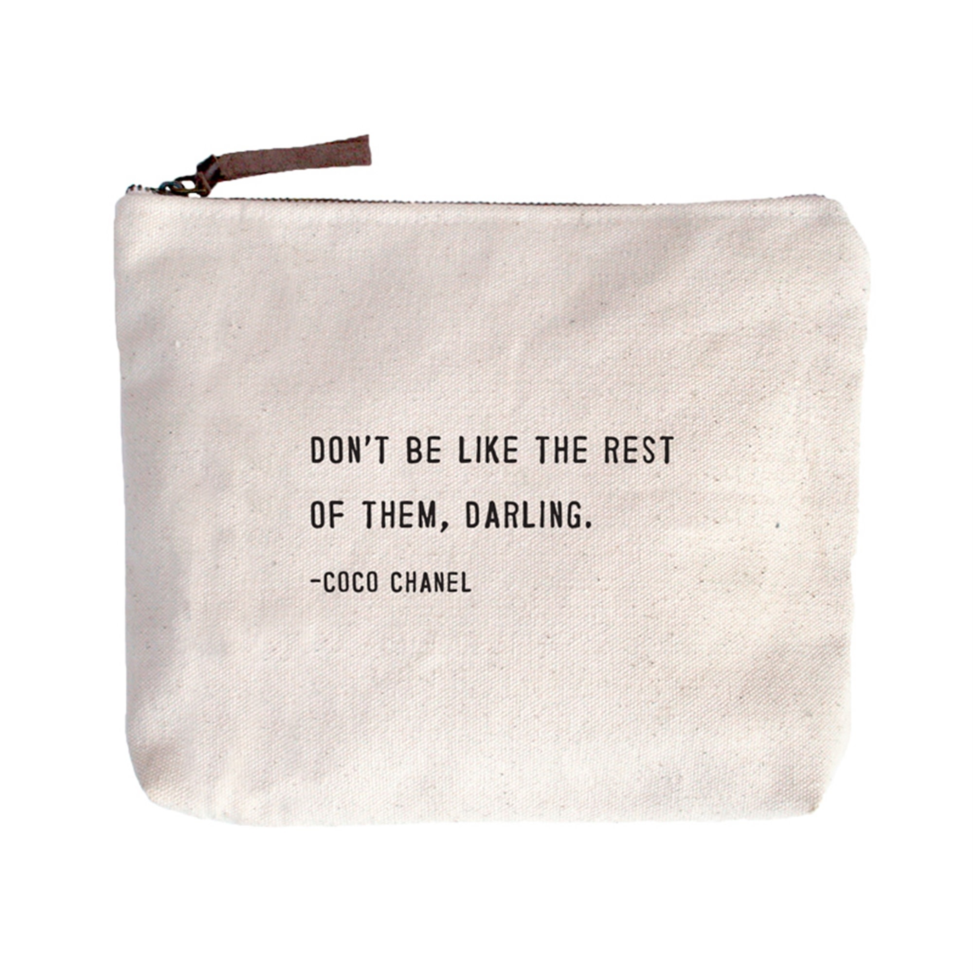 """Don't be Like The Rest Canvas Bag - Beige Canvas with Leather Zipper Tassle 9"""" x 7"""""""