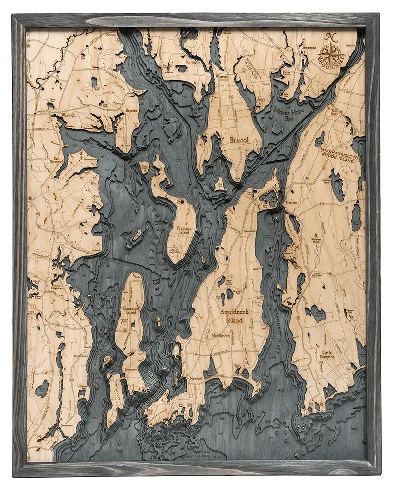 "Narragansett/Newport Wood Carving Grey Frame 24.5""W x 31""L"