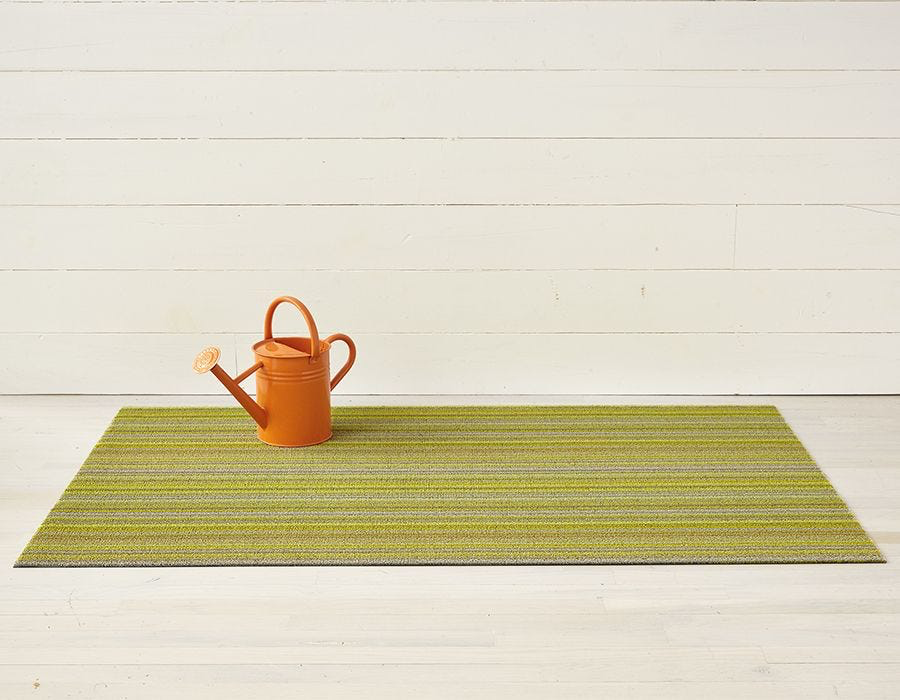 "Chilewich Skinny Stripe Shag Big Mat- Citron 36"" x 60"""