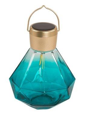 "Gem Light Glass Solar Lantern - Emerald 5.5"""