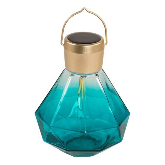 """Glass Solar Gem Lantern - Emerald 5.5"""""""