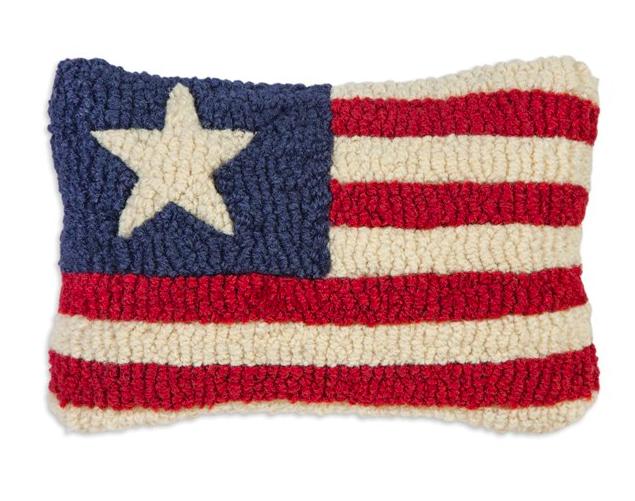 "Stars & Stripes Hooked Wool Pillow 8"" x 12"""