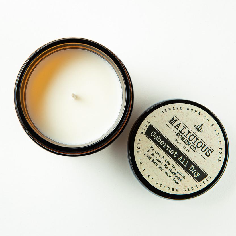 """MALICIOUS WOMEN """"Please Leave By 9:00"""" - Infused with 'Seriously... Get Out!' (Scent: Cabernet All Day 9 Ounce Candle )"""