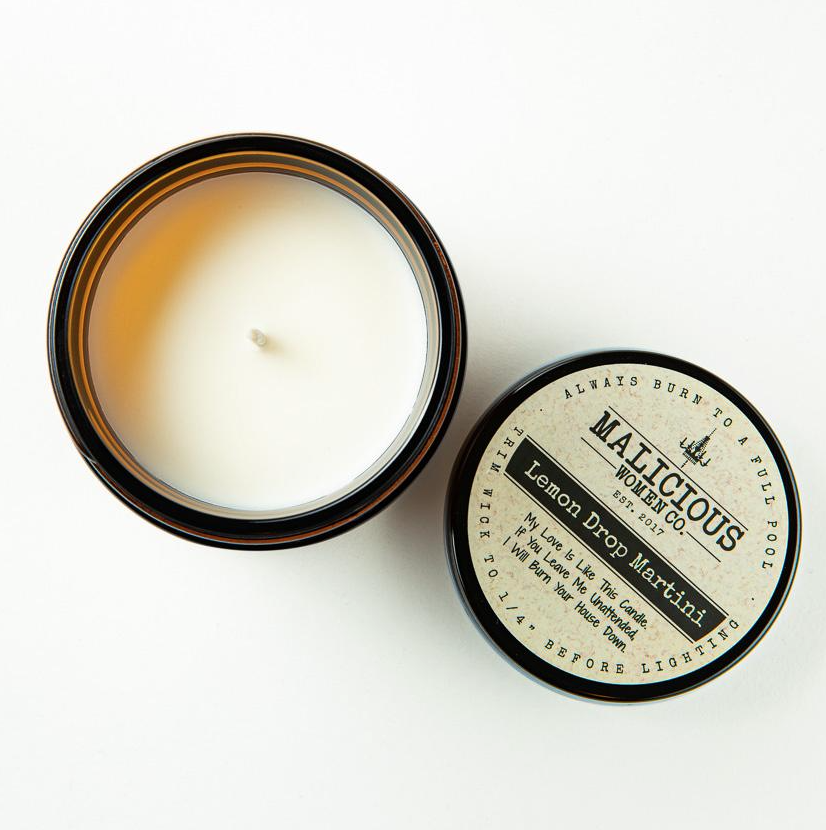 """MALICIOUS WOMEN For Fuck's Sake, Mute Your Line. Infused with """"Barking Dogs..."""" Scent: Lemon Drop Martini 9 Ounce Candle"""