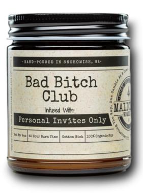 MALICIOUS WOMEN 'Bad Bitch Club' 9oz Soy Candle - Lemon Drop Martini Scent