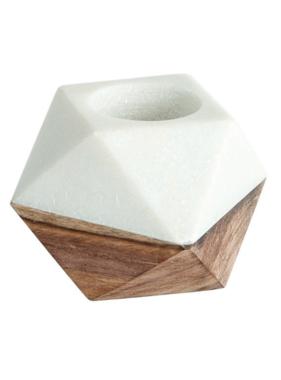 Marble & Wood Tealight Holder, White