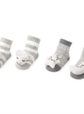 Counting Sheep Moon & Star Rattle Toe Socks