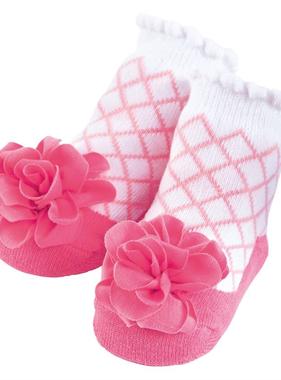 Pink Lattice Flower Socks 0 - 12 Months