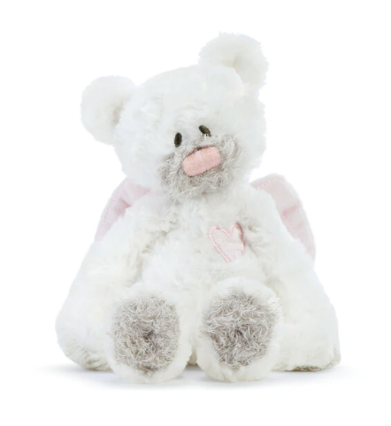 Pink Guardian Angel Bear Rattle Plush