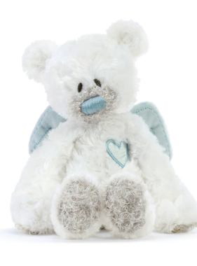 Blue Guardian Angel Bear Rattle Plush