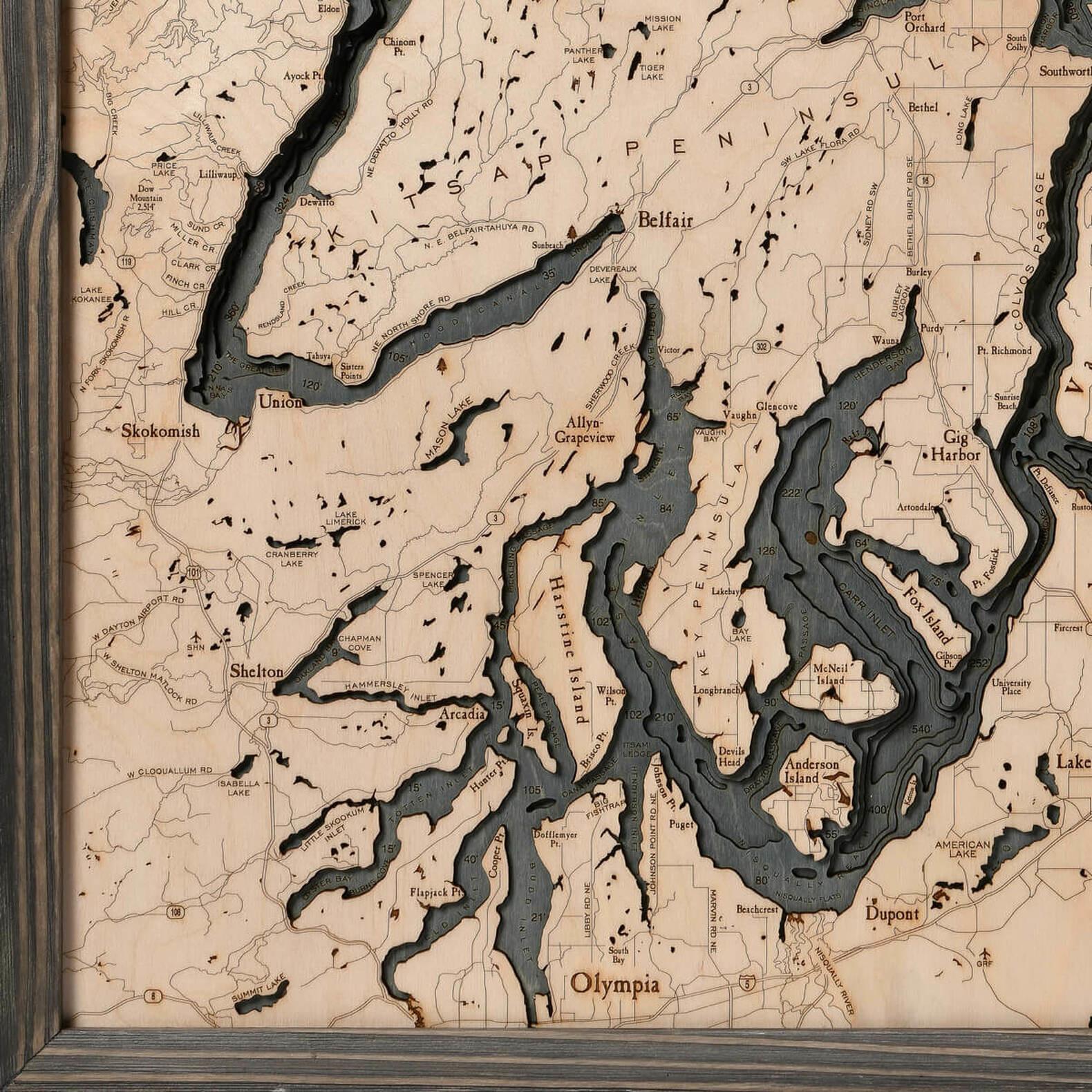 "Puget Sound Wood Carving - Grey Frame 24.5""W x 31""L"