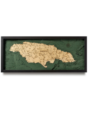 "Jamaica Wood Map 13.5"" x 31"""