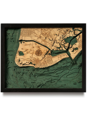 """New Jersey Cape May Wood Map 16"""" x 20"""""""