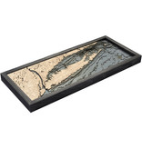 "Long Island Sound Wood Map - Gray Frame 13.5"" x 31"""