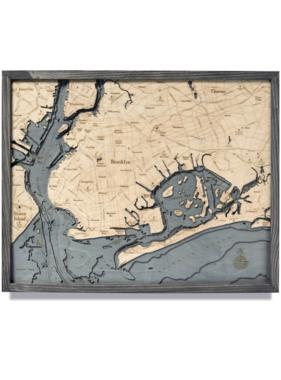 "Brooklyn Wood Map - Gray Frame 24.5""W x 31""L"