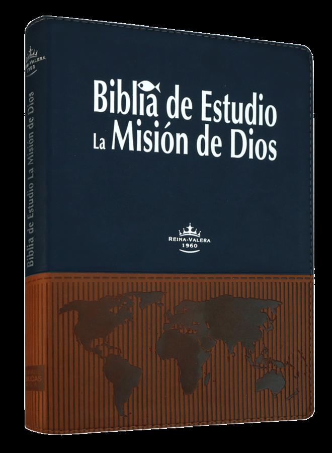 BIBLIA DE ESTUDIO LA MISION DE DIOS RVR1960 AZUL CAFE