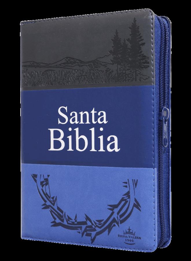BIBLIA RVR60 GRIS AZUL CORONA