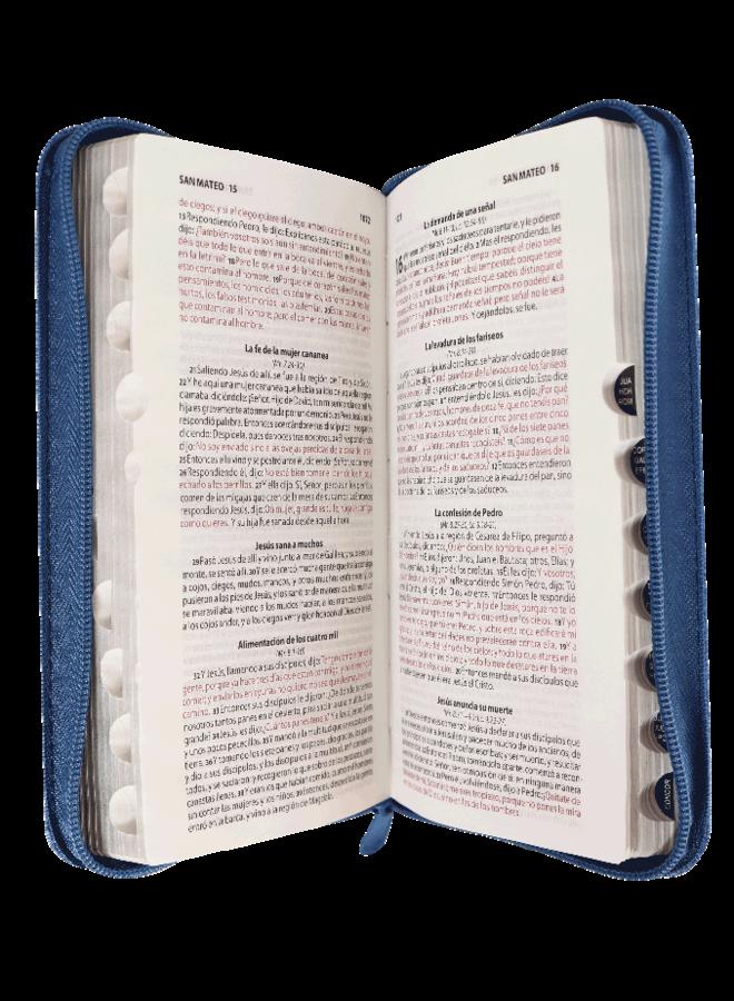 BIBLIA RVR60 AZUL CON CIERRE CON INDICADORES