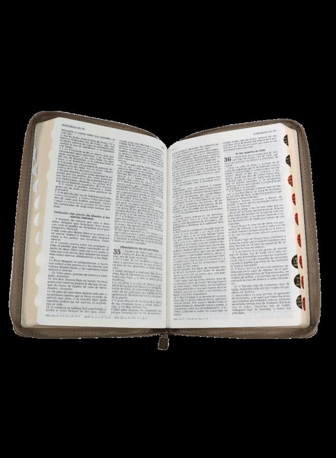 BIBLIA RVR60 CAFE CON CIERRE E INDICADORES