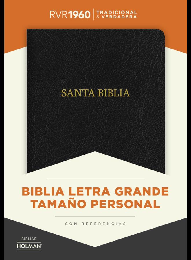 BIBLIA RVR 1960 LETRA GDE. TAM. MANUAL, PIEL FABRICADA, NEGRO
