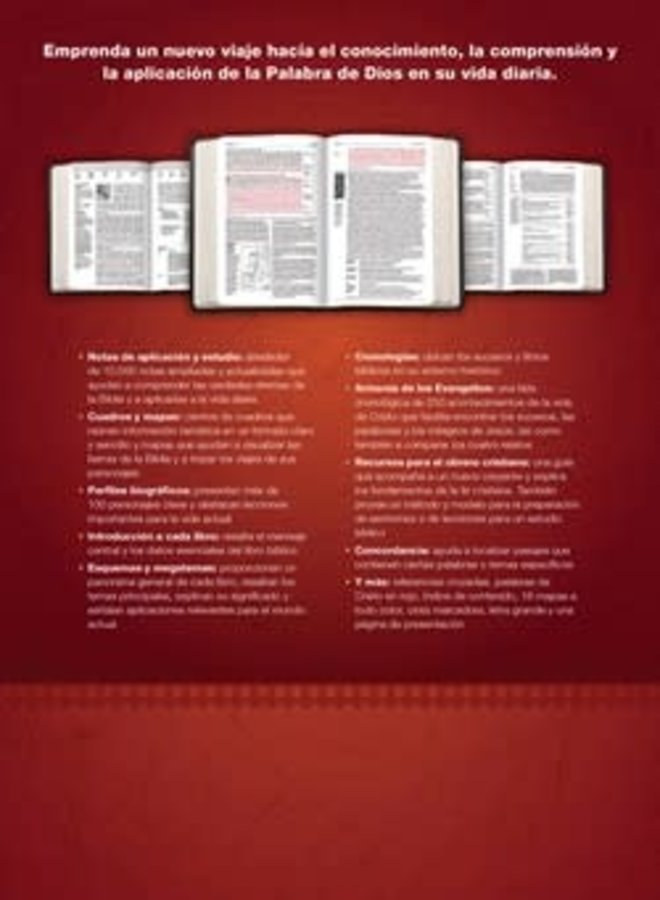 BIBLIA DE ESTUDIO DEL DIARIO VIVIR RVR60, LETRA GRANDE (LETRA ROJA, SENTIPIEL, CAFE/CAFE CLARO)