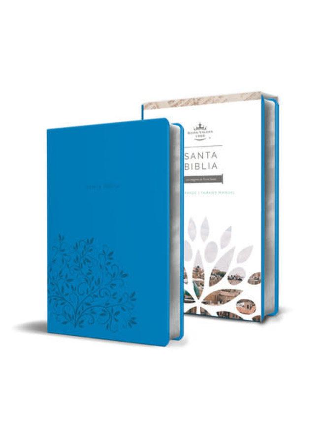 Biblia Reina Valera 1960 letra grande. Símil piel azul, tamaño manual