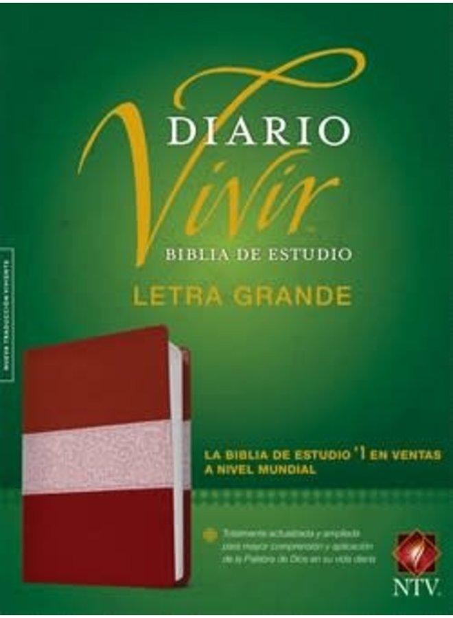 BIBLIA DE ESTUDIO DEL DIARIO VIVIR NTV, LETRA GRANDE ROSA